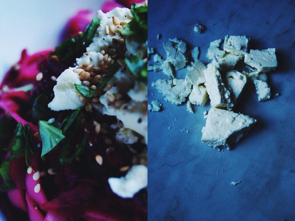 Salade de nouilles, betteraves et feta