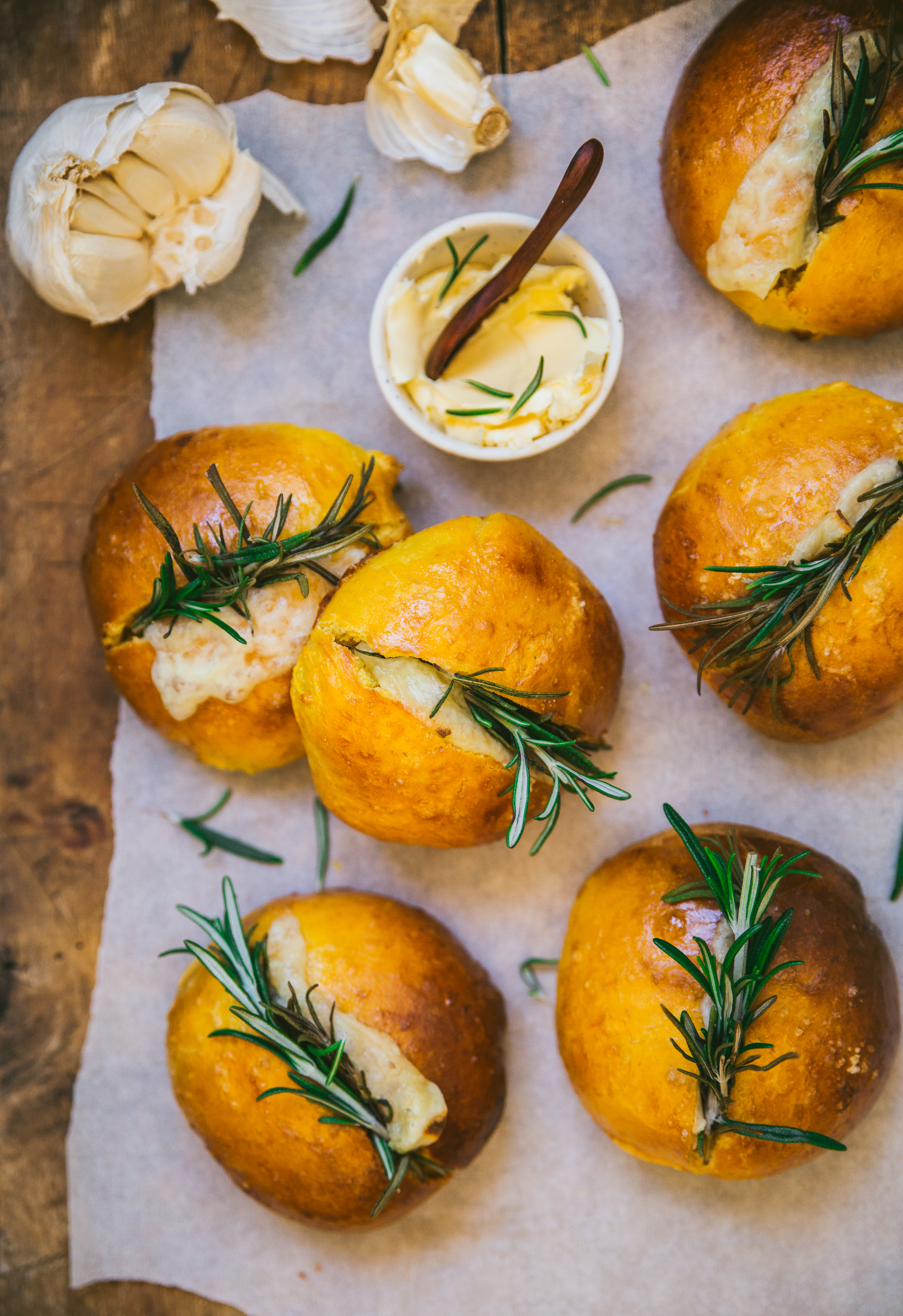Petits pain courge ail