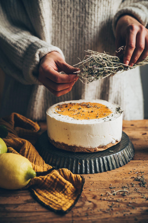Cheesecake glacé miel menthe