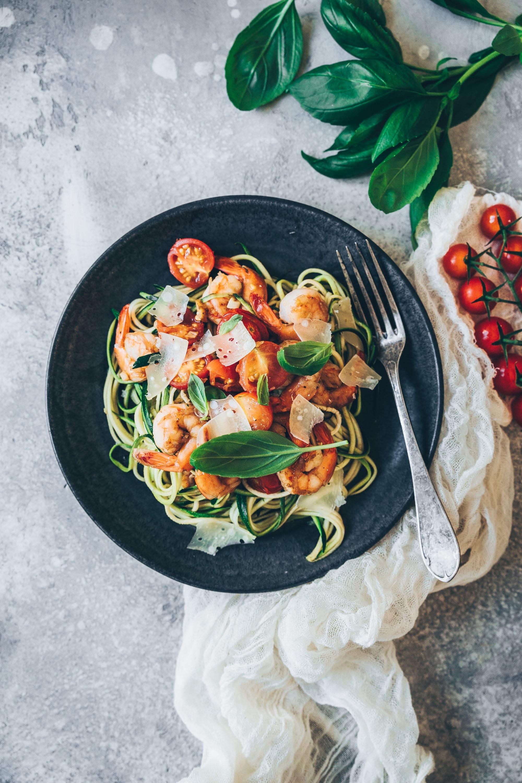 photographie culinaire courgette crevette ail megandcook