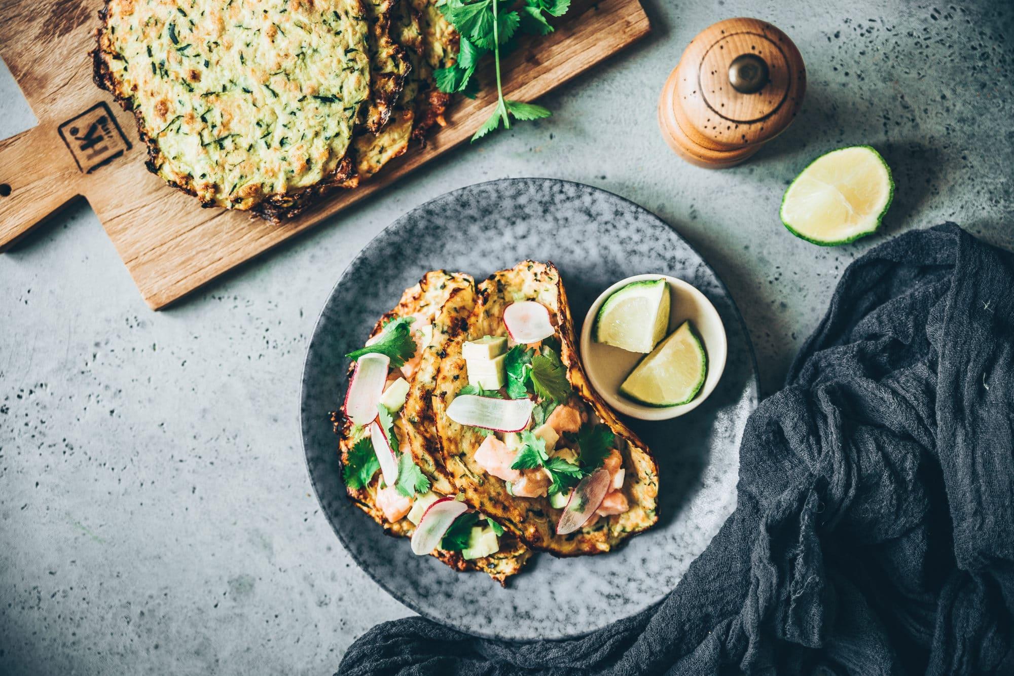 Tacos de courgettes et ceviche de saumon