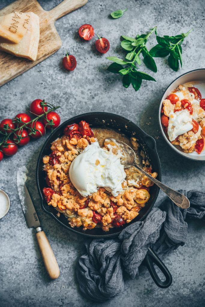Crumble tomates burrata