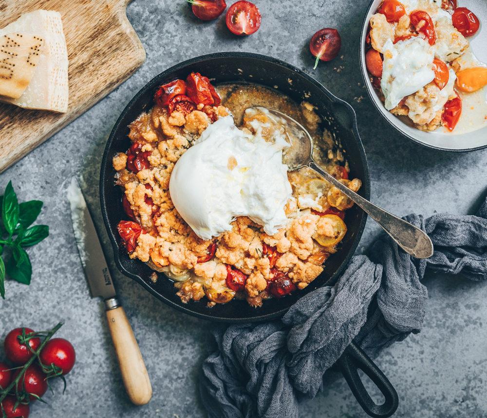 Crumble de tomates et burrata