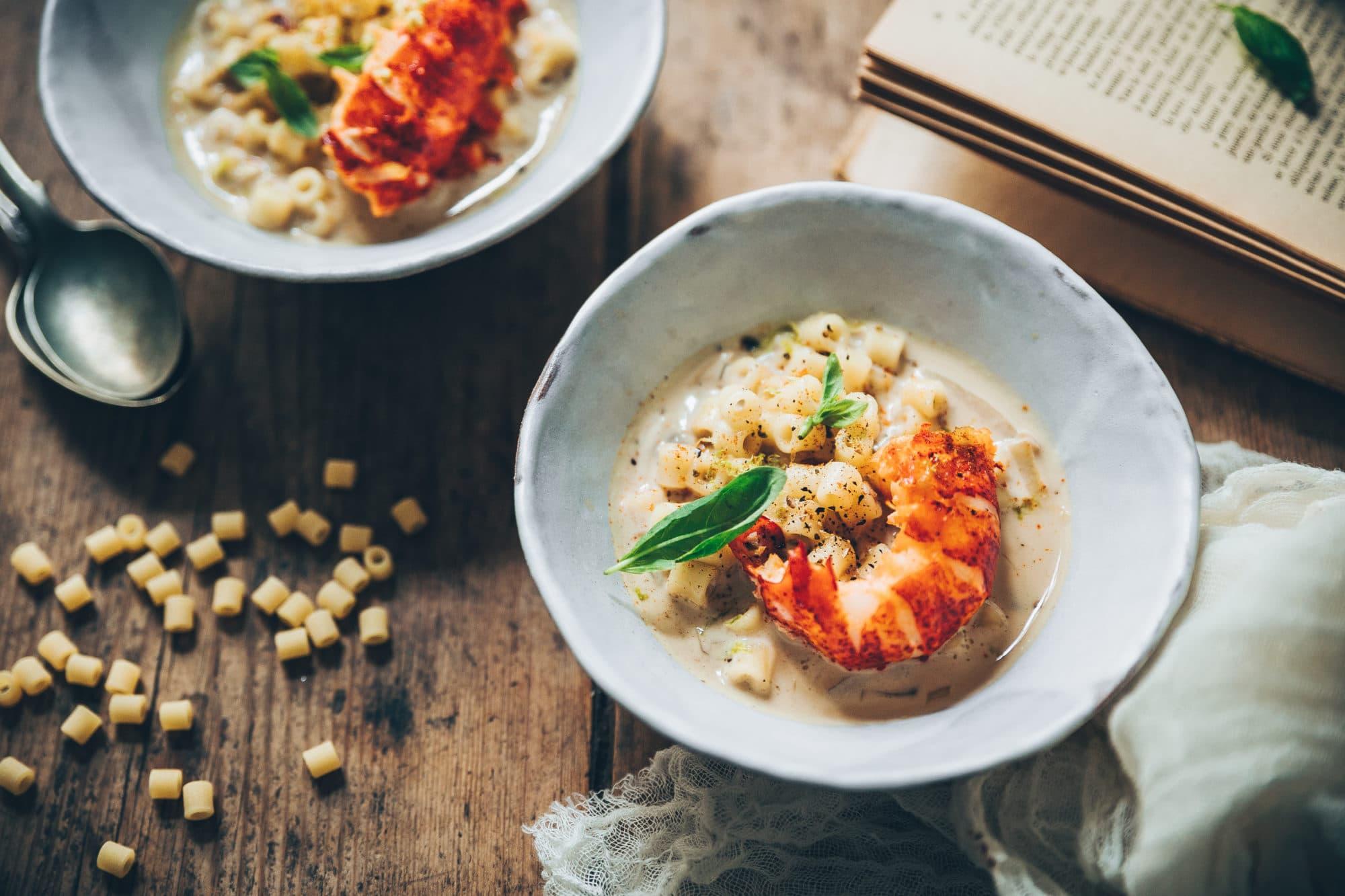 Bouillon Tom Kha Kaï, Ditali Rigati et homard