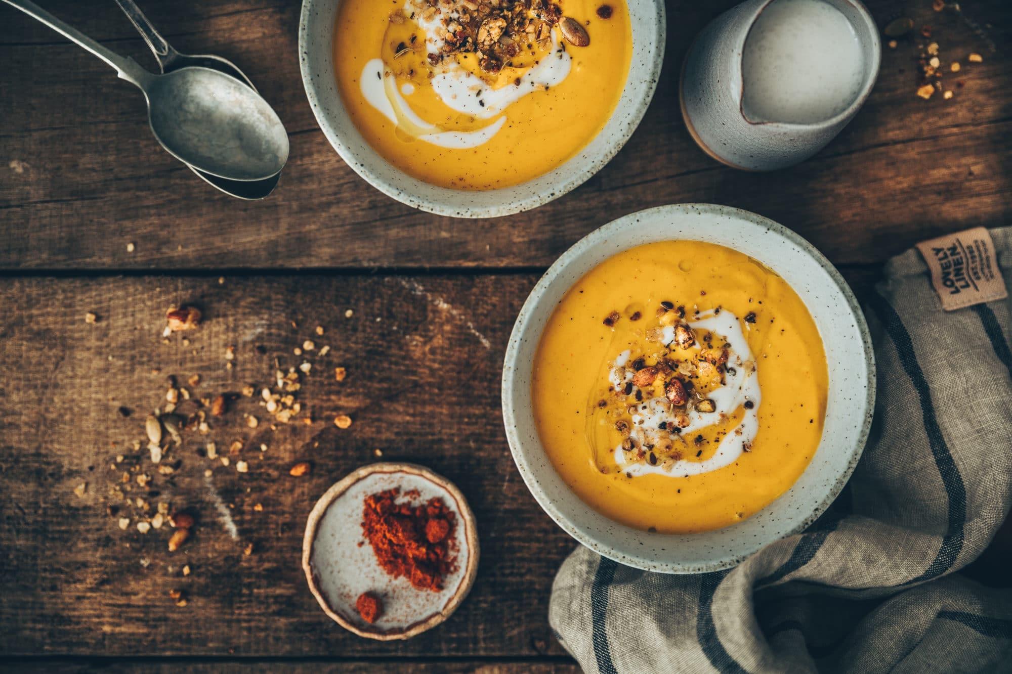 Velouté de carottes au lait de coco et ras el hanout