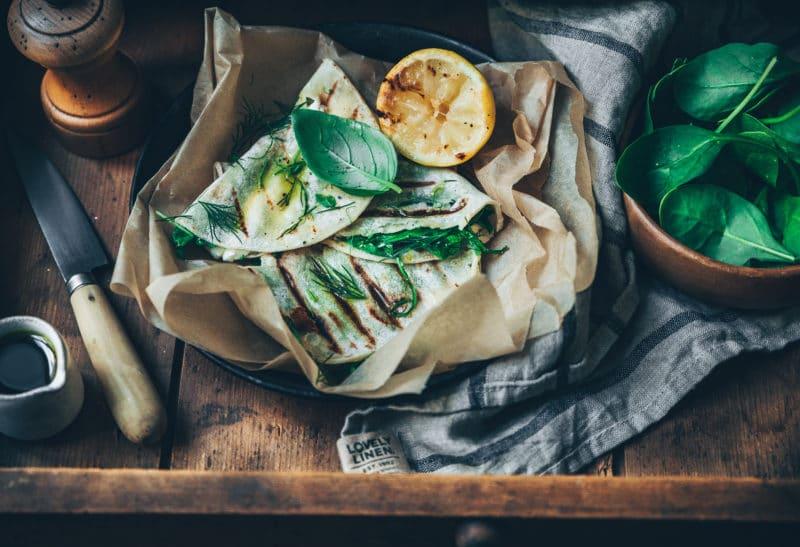 Quesadillas feta, épinards & champignons