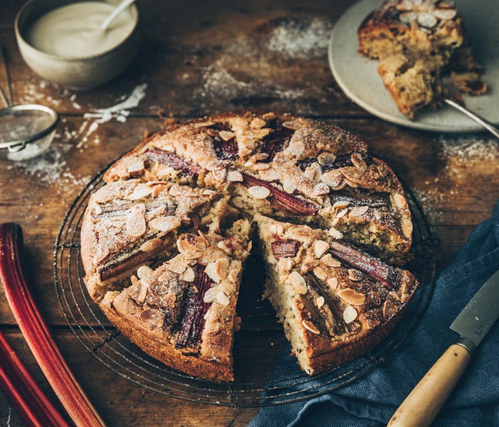 Gâteau vegan amandes & rhubarbe