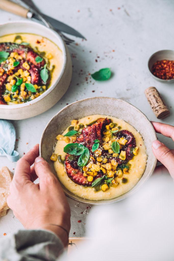 Polenta et poulpe - Mégane Arderighi megandcook styliste culinaire lyon