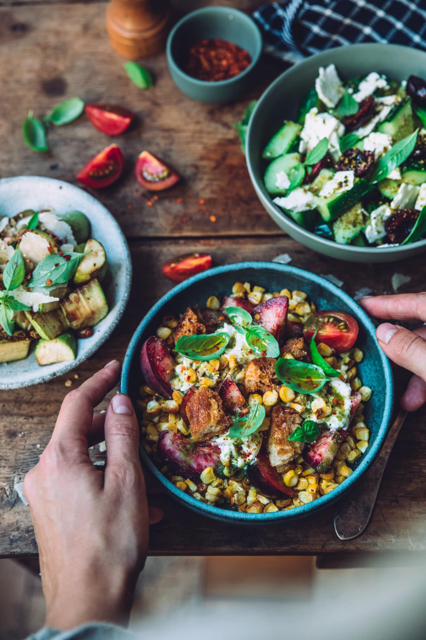 Salade maïs burrata styliste culinaire lyon - Mégane Arderighi megandcook
