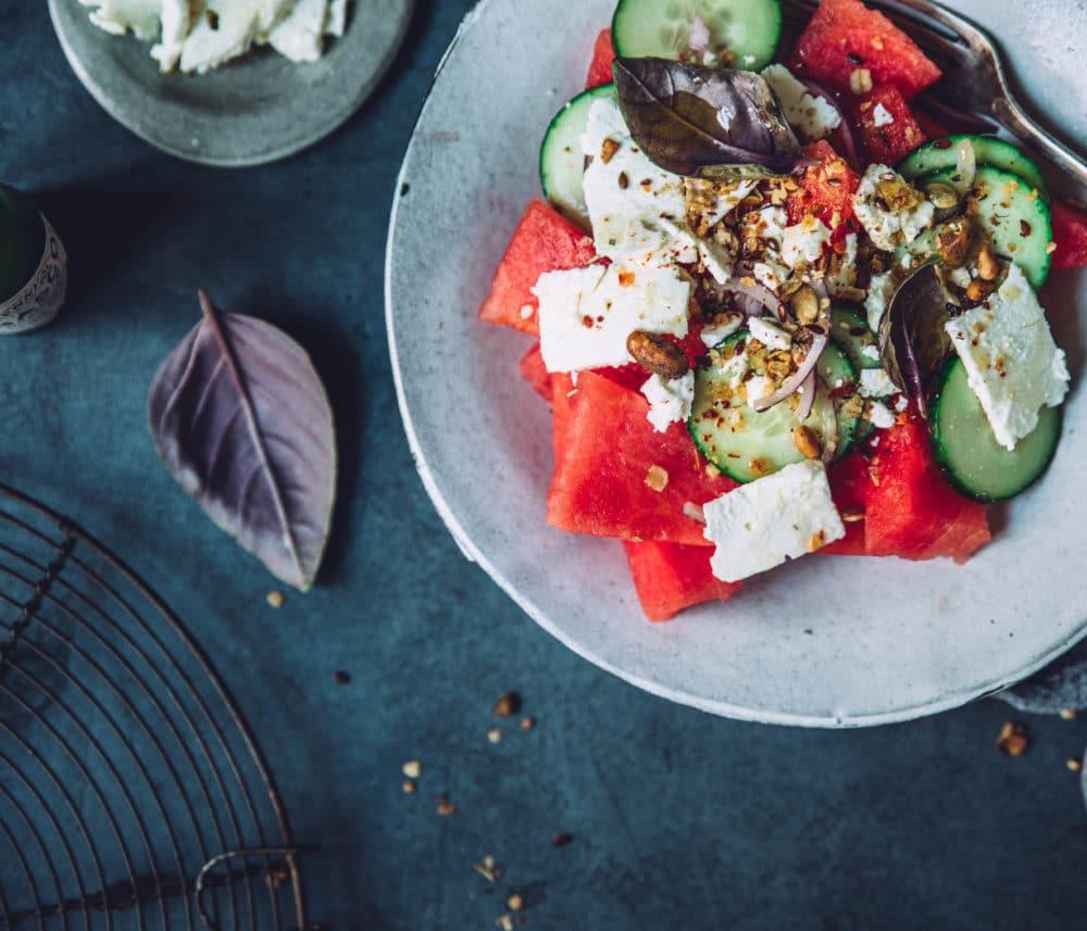 Salade de pastèque, feta et concombre