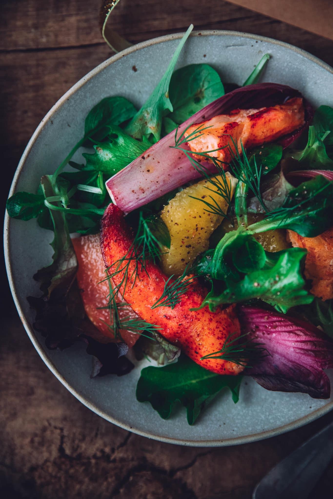 Salade homard agrumes entrée