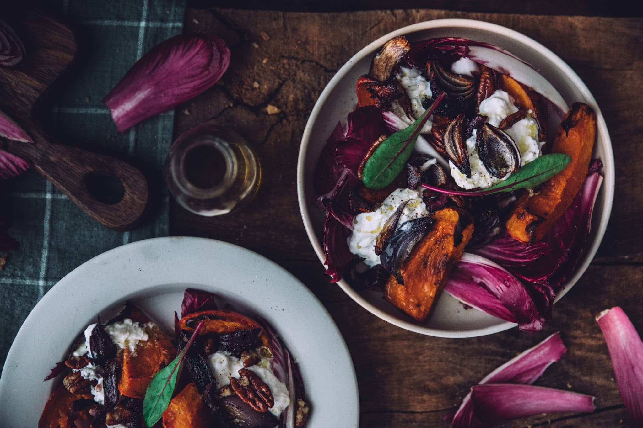 Salade de potimarron, carmine et burrata