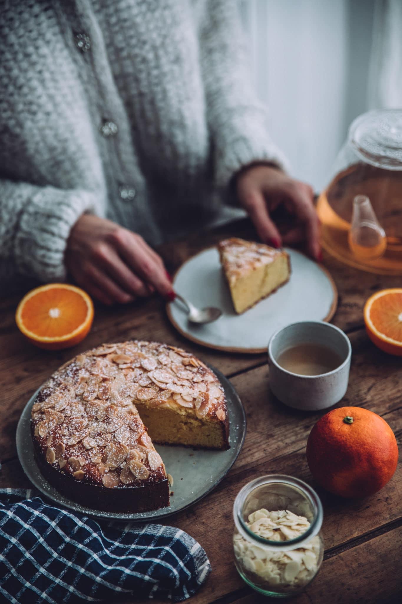 Gâteau moelleux orange amandes