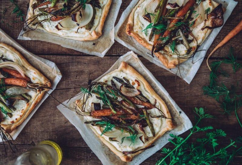 Tarte fine au brocciu frais & légumes grillés