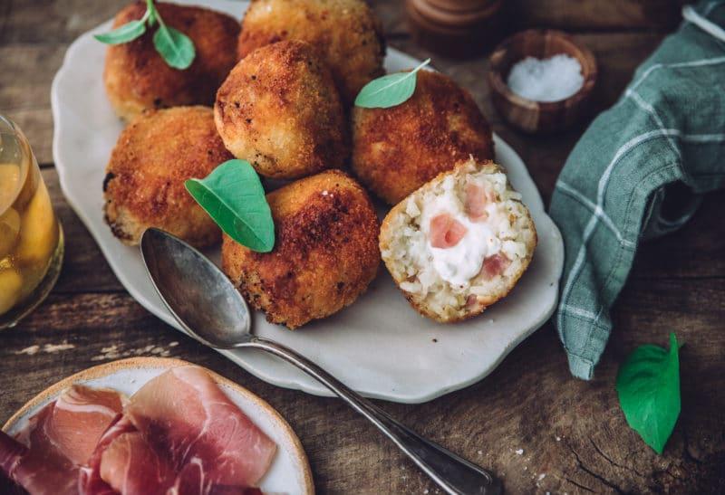 Arancini au Jambon de Savoie, burrata et citron confit